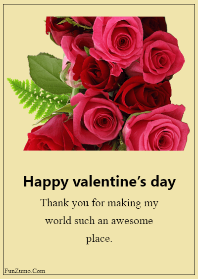 45 Valentine's day messages for husband - Thank you for making my world such an awesome place.