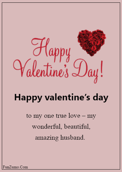 45 Valentine's day messages for husband - Happy Valentine's Day to my one true love – my wonderful, beautiful, amazing husband.