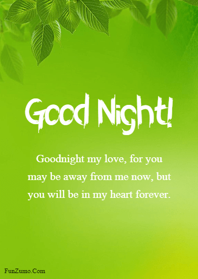 45 good night messages for him - Goodnight my love, for you may be away from me now, but you will be in my heart forever.
