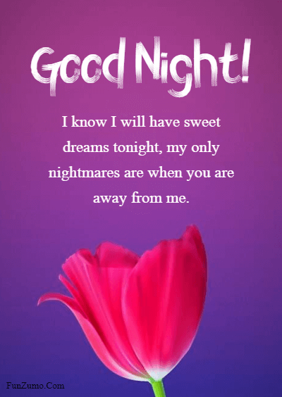 45 good night messages for him - I know I will have sweet dreams tonight, my only nightmares are when you are away from me.