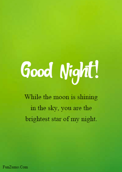 good night boyfriend messages for him - While the moon is shining in the sky, you are the brightest star of my night.