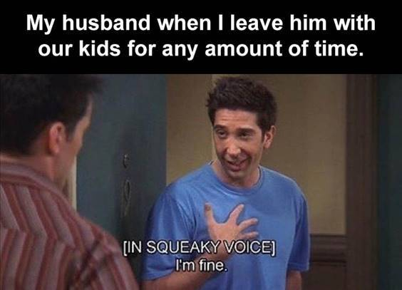 """Top 55 Hilarious Funny Memes Of All Time - Funny Meme Pics """"My husband when I leave him with our kids for any amount of time. [In squeaky voice] I'm fine."""""""